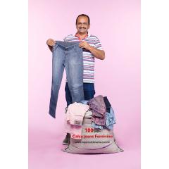 Fardo de roupas usadas - Calça Jeans Feminina 100 peças